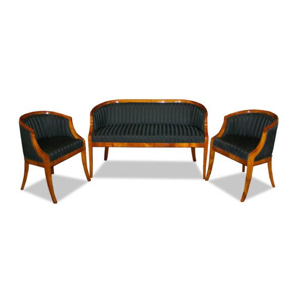 ANTIK SHOP Biedermeier Stil Sitzgruppe Biedermeier, um 1900 Kirschbaum bzw. Nussbaum, hochglänzend lackiert B: 130 cm T: 54 cm H: 78 cm