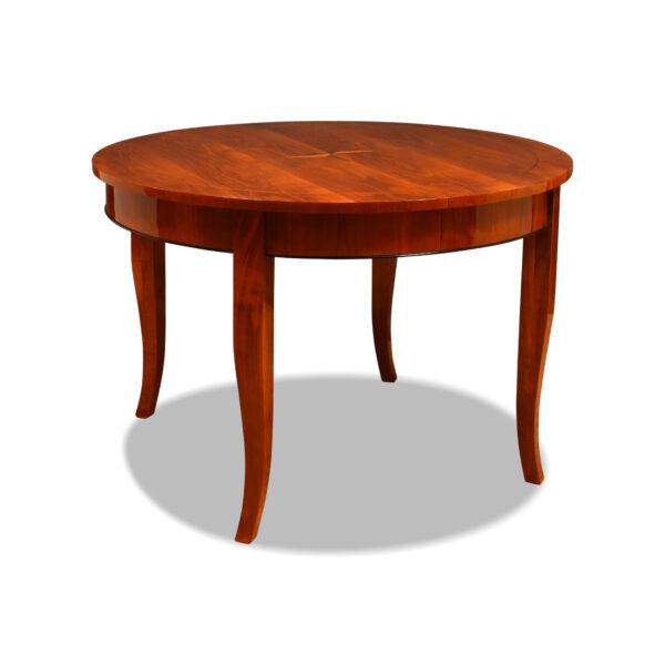 ANTIK SHOP Biedermeier Stil Tisch Biedermeier Stil, um 1900 Kirschbaum bzw. Nußbaum, hochglänzend lackiert B: 119 cm T: 119 cm H: 80 cm