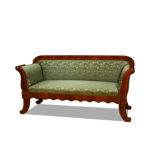 ANTIK SHOP Biedermeier Sofa Biedermeier Stil, um 1900 Kirschbaum bzw. Nußbaum, hochglänzend lackiert B: 180 cm T: 64 cm H: 90 cm Sofa im Biedermeierstil. nach Originalvorbild traditionell gefertigt und gepolstert.