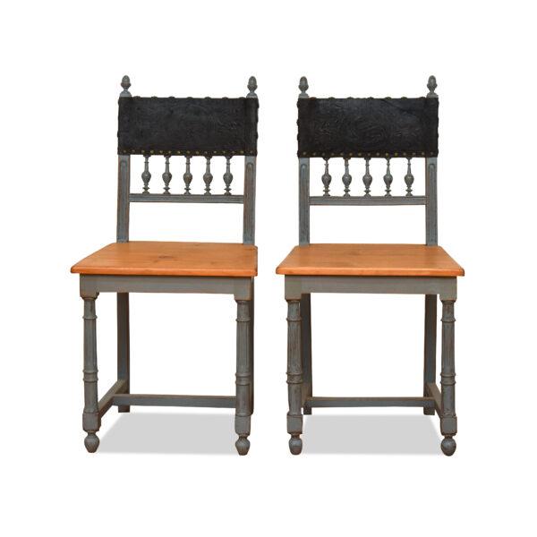 ANTIK SHOP Henry II Stühle 2 x Henry II, um 1890 Eiche, gefasst B: 44 cm T: 45 cm H: 91 cm 2 x Henry II Stühle aus Eiche