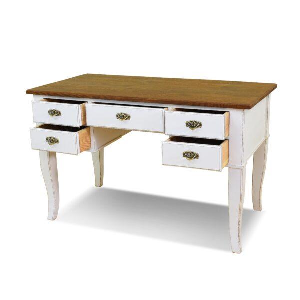 ANTIK SHOP Biedermeier Schreibtisch Biedermeier, um 1850 Eiche, Shabby Chic B: 127 cm T: 65 cm H: 80 cm Biedermeierschreibtisch aus Eiche. In weiß gefasst und gealtert.