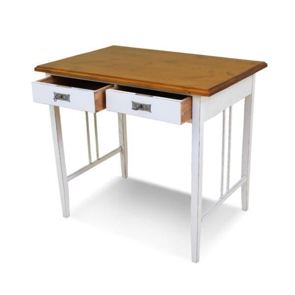 ANTIK SHOP Jugendstil Schreibtisch Jugendstil, um 1900 Fichte, Shabby Chic B: 90 cm T: 60 cm H: 79 cm kleine Jugendstilschreibtisch aus Weichholz. In weiß gefasst und gealtert.