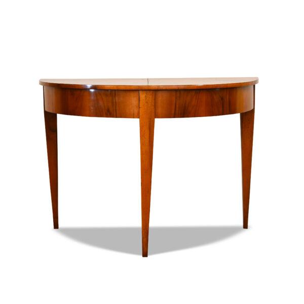 ANTIK SHOP Biedermeier Demi Lune Tisch Biedermeier, um 1830 Nußbaum, handpoliert B: 113 cm T: 56 cm H: 80 cm Biedermeier Demi Lune Tisch aus Nußbaum.