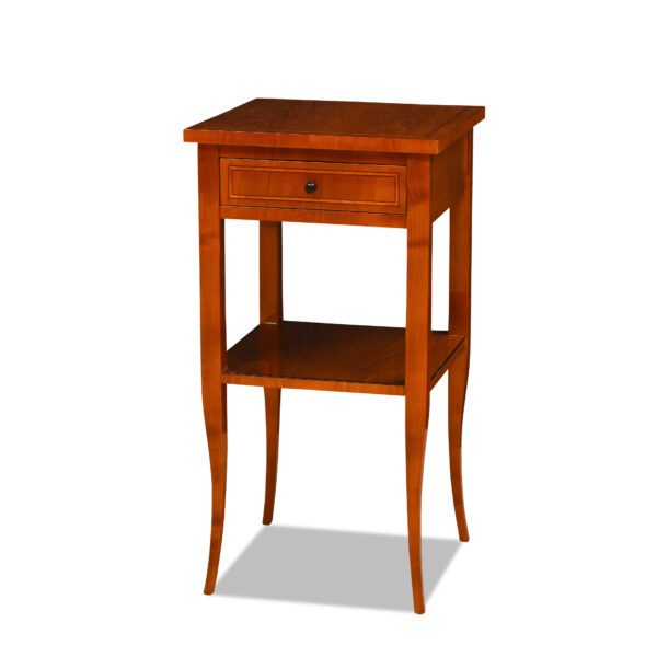 ANTIK SHOP Biedermeier Stil Tischchen Biedermeier Stil, um 1900 Kirschbaum bzw. Nußbaum, hochglänzend lackiert B: 40 cm T: 40 cm H: 76 cm