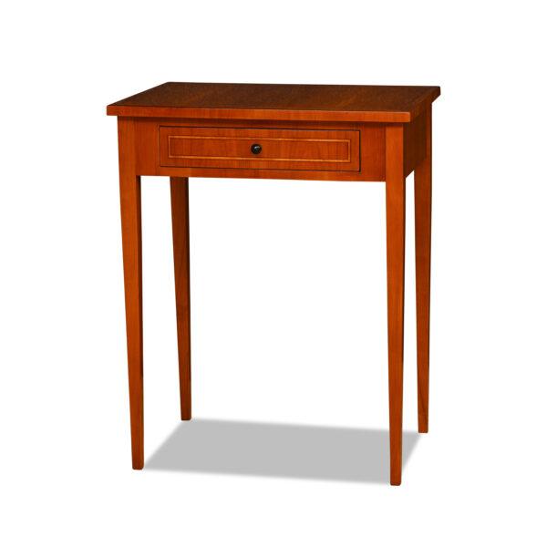 ANTIK SHOP Biedermeier Stil Tischchen Biedermeier Stil, um 0 Kirschbaum bzw. Nußbaum, hochglänzend lackiert B: 60 cm T: 40 cm H: 76 cm Biedermeier Stil Beistelltischchen mit konoschen Tischbeinen, Schubkasten und Bandintarsien
