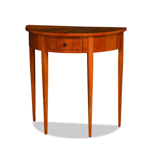ANTIK SHOP Demi Lune Tisch Biedermeier Stil, um 1900 Kirschbaum bzw. Nußbaum, hochglänzend lackiert B: 75 cm T: 36 cm H: 76 cm Biedermeier Stil Demi Lune Tischchen mit Schubkasten