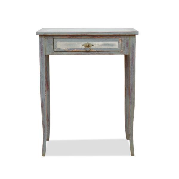 ANTIK SHOP Biedermeier Tischchen Biedermeier Stil, um 1900 Kiefer, nach alten Vorlagen neu gefasst B: 60 cm T: 40 cm H: 76 cm Biedermeier Stil Beistelltischchen mit geschweiften Tischbeinen, mit Schubkasten, grau gefasst