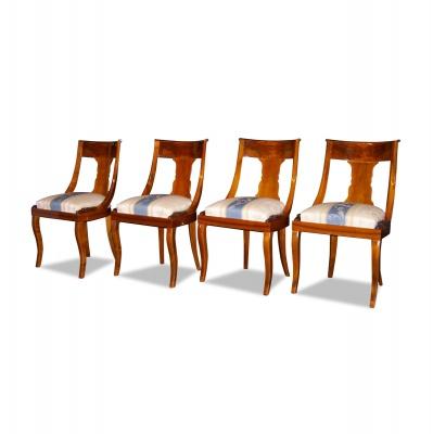 ANTIK SHOP Stuhl Biedermeier Stil Biedermeier Stil, um 0 Kirschbaum bzw. Nußbaum, hochglänzend lackiert B: 50 cm T: 48 cm H: 83 cm