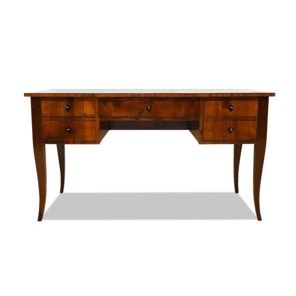 ANTIK SHOP Schreibtisch, Biedermeier um 1820, Nussbaum, Schellack handpoliert