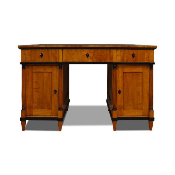 ANTIK SHOP Schreibtisch, Biedermeier, Kirschbaum, Schellack handpoliert, Lederschreibfläche